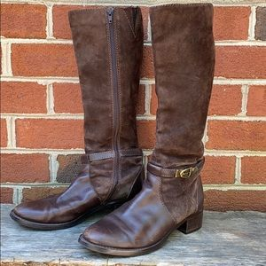 Etienne Aigner Brown Suede/Leather Riding Boots
